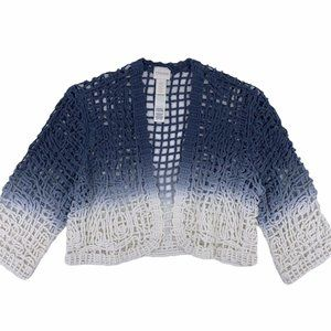 Chico's Open Knit Weave Ombre Blue Cardigan Shrug